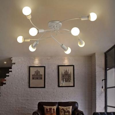 8 Lights Twist Indoor Lighting Contemporary Metallic Semi Flush Ceiling Light in White for Sitting Room