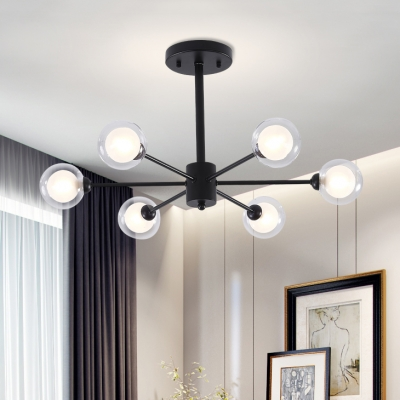 Black Sputnik Chandelier Light Designer Style 6 Heads Indoor Lighting Fixture with Global Glass Shade