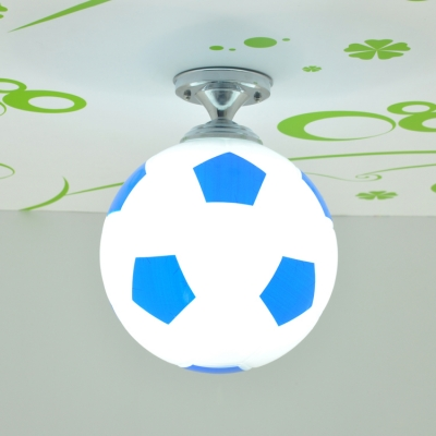 Blue/Red Football Semi Flush Mount Glass Single Light Ceiling Lamp for Boys Bedroom