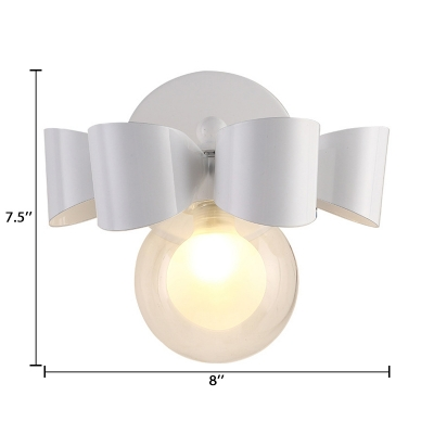 Clear Glass Mini Ball Sconce Light Nordic Style Single Light LED Wall Lamp in White for Porch