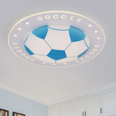 Football Led Flush Light Fixture Blue