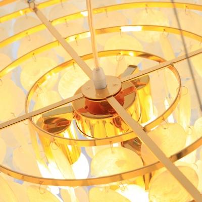 Gold Tiered Suspension Light Modern Stylish Shelly 4 Lights Chandelier Light for Living Room