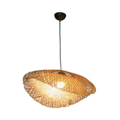 Rattan Hat Shape Hanging Ceiling Lamp Asian Style 1 Light Decorative