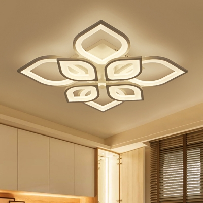 Square/Round Canopy LED Semi Flushmount Modern Design Acrylic 8/15 Heads Indoor Lighting Fixture in White
