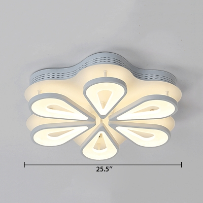 Teardrop LED Semi Flush Light Modern Design Acrylic 6/8 Lights Ceiling Fixture in Warm/White/Neutral