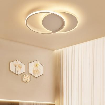 White Circular Flushmount with Scalloped Edge Modern Chic Metal LED Lighting Fixture