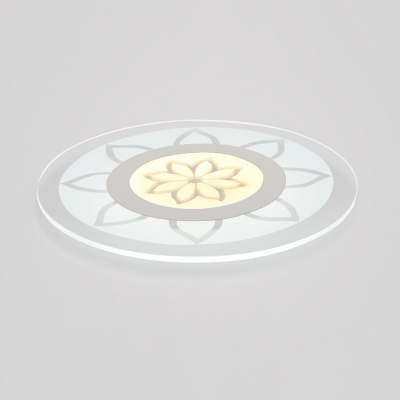 White Disc Shade Ceiling Fixture with Bloom Design Modernism Acrylic Ultrathin LED Flush Mount
