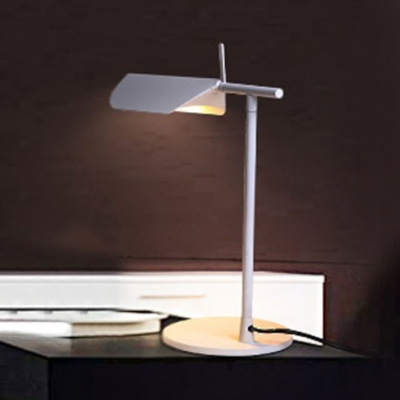 White Finish Folded Table Lamp Contemporary Metallic 1 Head Standing