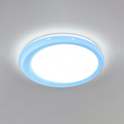Acrylic Circular Flush Light with Prismatic Pattern Simplicity LED Ceiling Fixture in Blue/Pink