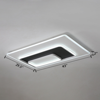 Acrylic Rectangle Shape Flush Mount Modern Design Simple Bedroom Ceiling Light in White