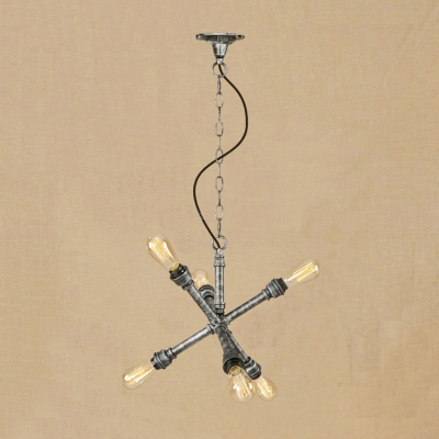 Antique Silver Linear Chandelier with Pipe Loft Style Wrought Iron 6 Heads Hanging Light