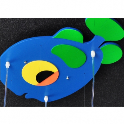 Blue Fish Suspended Light Triple Heads Hanging Lamp with White Glass Shade for Kids Room