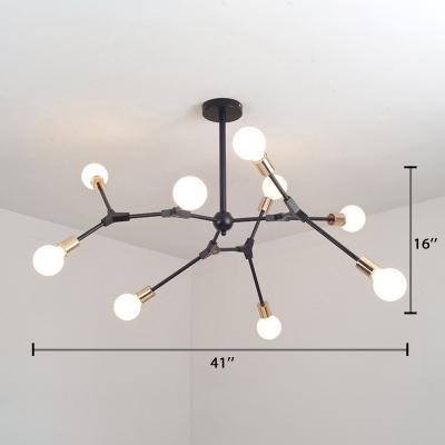 Branch Hanging Light Post Modern Steel Multi Light Chandelier Lamp in Gold Finish