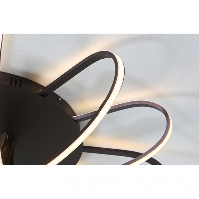 Brown Windmill Surface Mount Ceiling Light Contemporary Metallic Decorative LED Flush Light