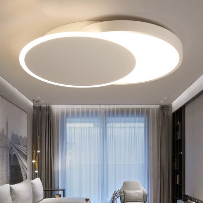 Circle Flush Mount Lighting Contemporary Acrylic LED Living Room Lighting Fixture in White