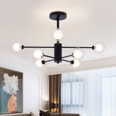 Clear Glass Ball Shade Hanging Light Fixture Modern Fashion Multi Lights Suspension in Black