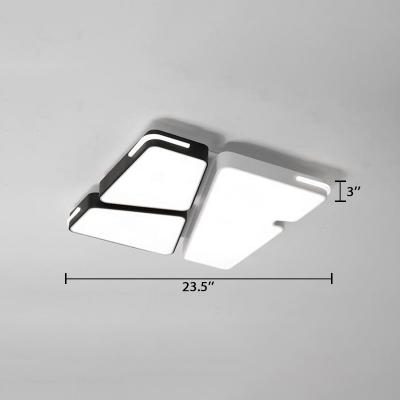 Contemporary Polygon Flush Mount Light Metallic LED Indoor Lighting Fixture in Warm/White