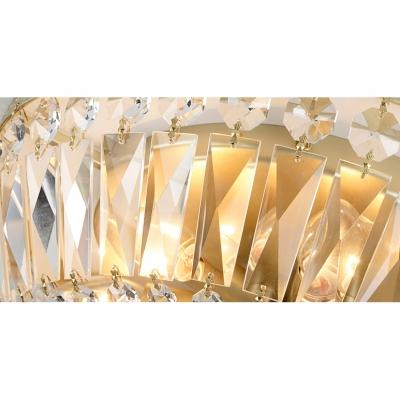 Crystal Bowl Shade Flush Mount Vintage 4/6 Lights Art Deco Indoor Lighting Fixture in Gold