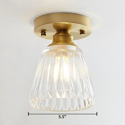 Flared Semi Flush Mount with Textured Glass Shade Vintage Retro Style Art Deco Ceiling Lamp in Brass