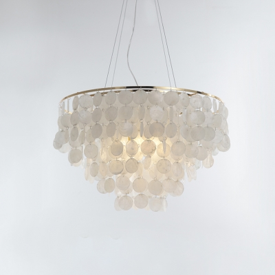 Fountain Style Chandelier Lamp with Metal Ring Modernism 4 Bulbs Hanging Light in Gold