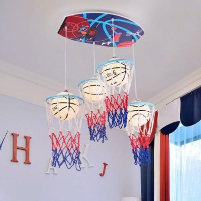 Glass Shade Hanging Lamp with White Basketball 4 Heads Suspended Light for Boys Room