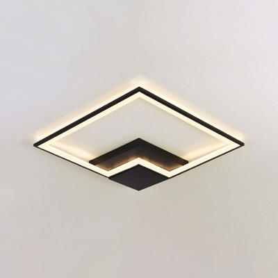 Metallic Square Frame LED Flush Light Minimalist Modern Art Deco Indoor Lighting Fixture in Black