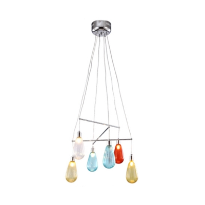 Multicolored Water Drop Suspended Light Nordic Style Glass 6 Lights Hanging Lamp for Bar Counter