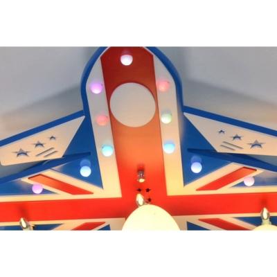 Opal Glass Shade Flush Light with Aircraft Blue 5 Lights Ceiling Fixture for Nursing Room