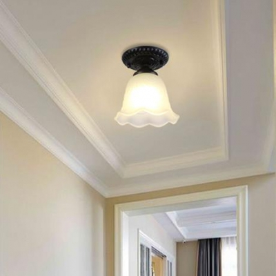 Simple Bell Mini Indoor Lighting with Opal Wavy Glass 1 Bulb Surface Mount Ceiling Light in Black