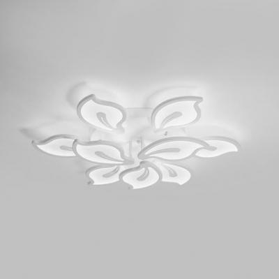 Simple Modern 2 Tiers Ceiling Light with Petal Metallic Multi Light LED Semi Flush Light Fixture in White