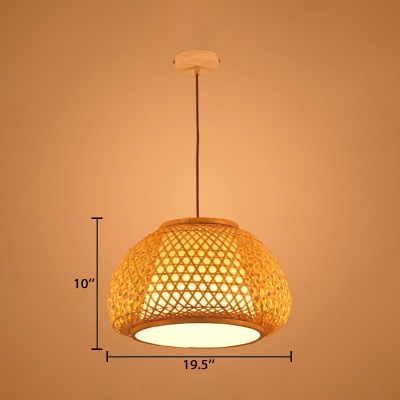 Single Light Dome Hanging Light Lodge Style Rattan Decorative Ceiling Pendant Light in Wood
