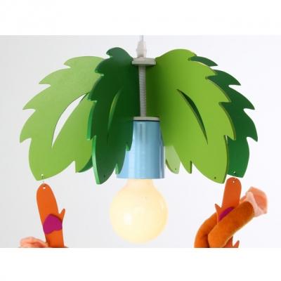 Triple Lights Monkey Flush Mount Children Room Glass Shade Hanging Lamp in Blue