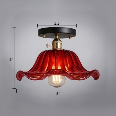 Vintage Flared Ceiling Fixture with Scarlet Red Wavy Glass Shade Single Head Art Deco Semi Flushmount