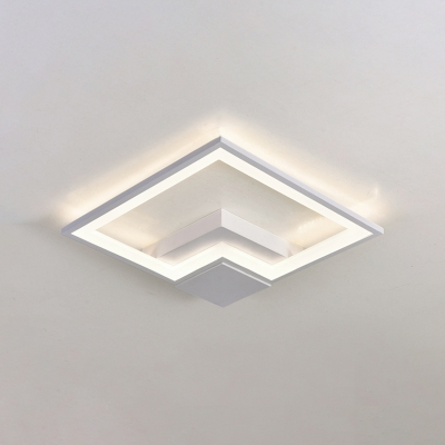 White Metal Frame Flush Mount with Square Nordic Style Ambient LED Flush Ceiling Light