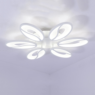 White Oval LED Semi Flush Light Modernism Simple Acrylic 4/6 Heads Ceiling Lamp for Living Room