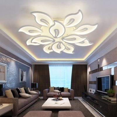 White Tiered Indoor Lighting Fixture with Acrylic Shade Modern Multi Light LED Semi Flush Mount Light