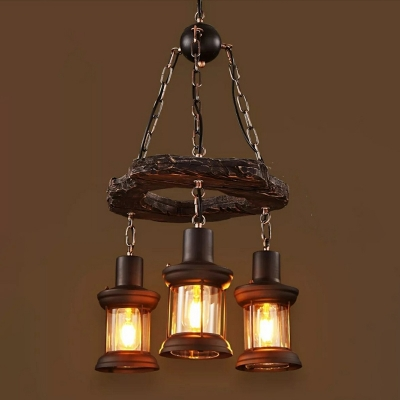 Wooden Lantern Hanging Lamp With Ring Retro Style 3 Lights Chandelier
