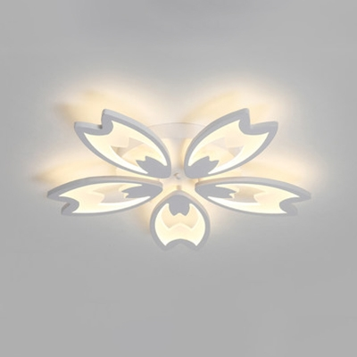 3/5 Heads Floral Semi Flushmount with White Metal Canopy Modernism LED Ceiling Fixture