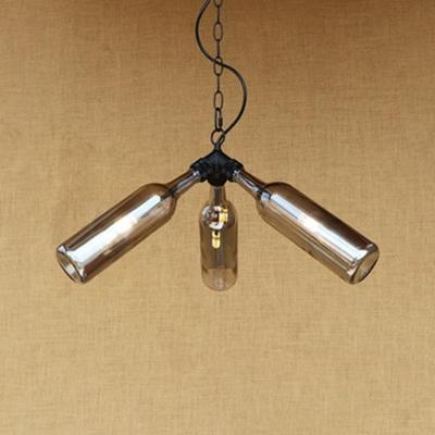 3 Lights Bottle Chandelier Lamp Vintage Loft Style Glass Shade Light Fixture in Black Finish