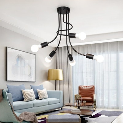 5 Heads Bare Bulb Hanging Lamp with Curved Arm Modern Industrial Metal Suspension Light in Black