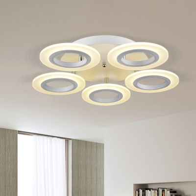 Acrylic Circular LED Ceiling Lamp Minimalist 3/5/7 Heads Semi Flush Light in Warm/White
