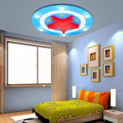 Acrylic Football Ceiling Lamp Children Room 6 Lights LED Flush Mount in Blue/Red