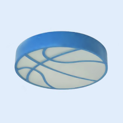 Acrylic Round LED Flush Mount with Basketball Boys Bedroom Ceiling Fixture in Blue/Green/Red/Yellow