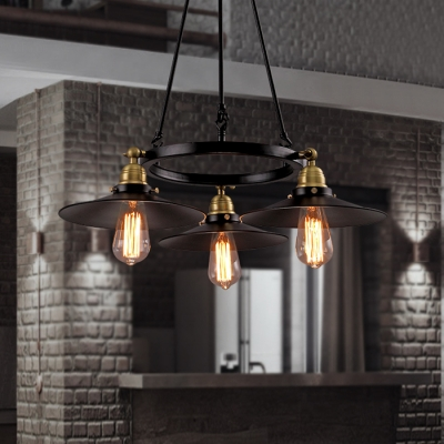 Circle Ring Chandelier Lamp with Flared Shade Retro Style Iron Triple Lights Drop Light in Brass