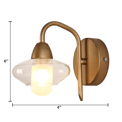 Clear Glass Flask Shape Wall Lamp Modern Chic 1 Head Decorative LED Wall Lighting for Bedside
