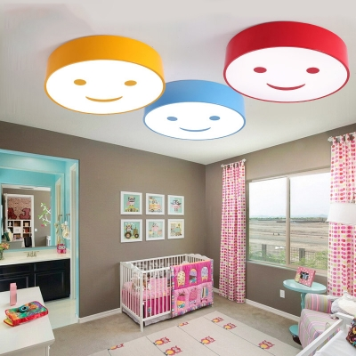 Drum LED Flush Light with Smile Amusement Park Acrylic Shade Lighting Fixture in Blue/Red/Yellow