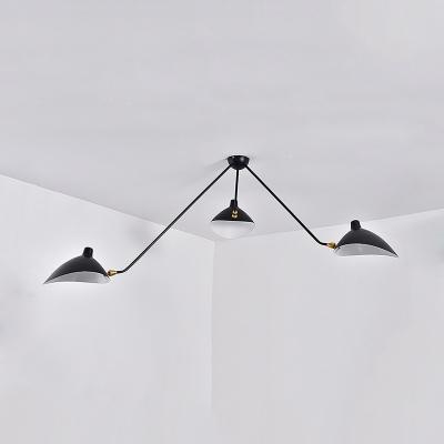 Duckbill Ceiling Light Modern Fashion Metal Triple Lights Decorative Semi Flush Light in Black