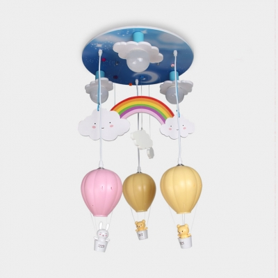 Hot Air Balloon Ceiling Fixture Nursing Room Metallic 6 Lights Flush Mount in Multi Color