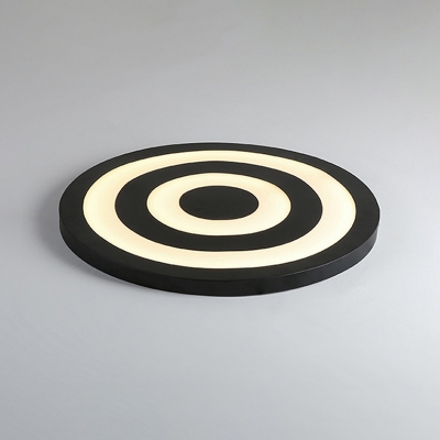 Metal Ultra Thin Ceiling Fixture with Target Design Modernism Surface Mount LED Light in Black