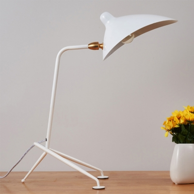 Metallic Duckbill Desk Lamp Modern Chic 1 Bulb Standing Table Light in White for Study Room